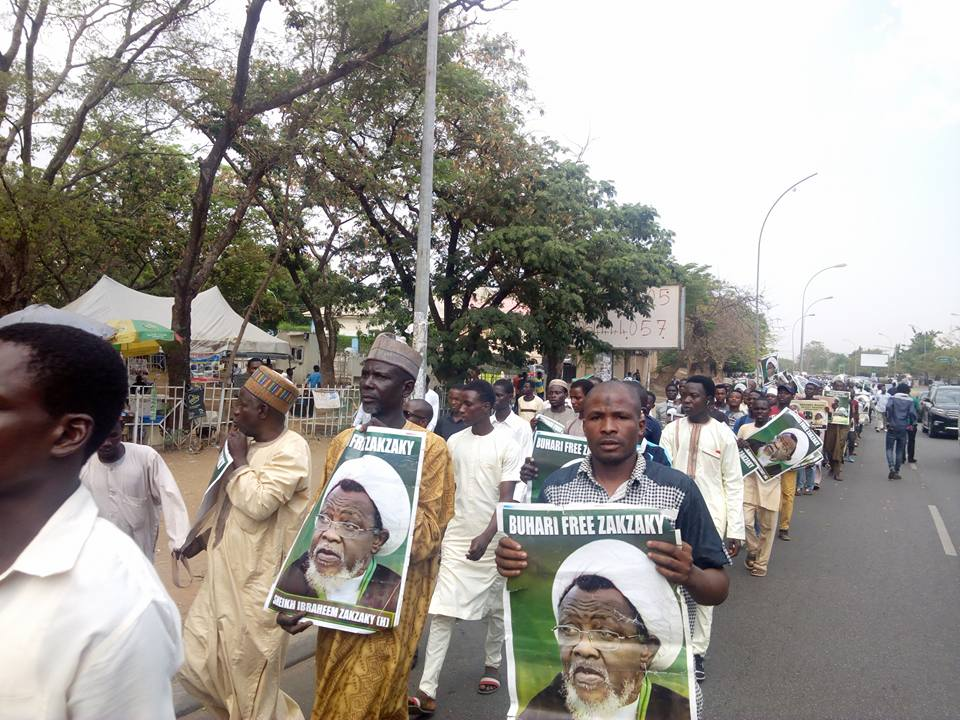 free zakzaky protest in  abuja on Thuesday the 6  march