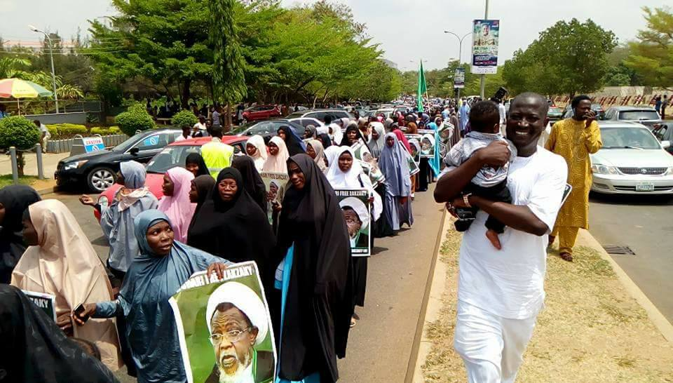 zahra day and free zakzaky protest in  abuja on  8  march