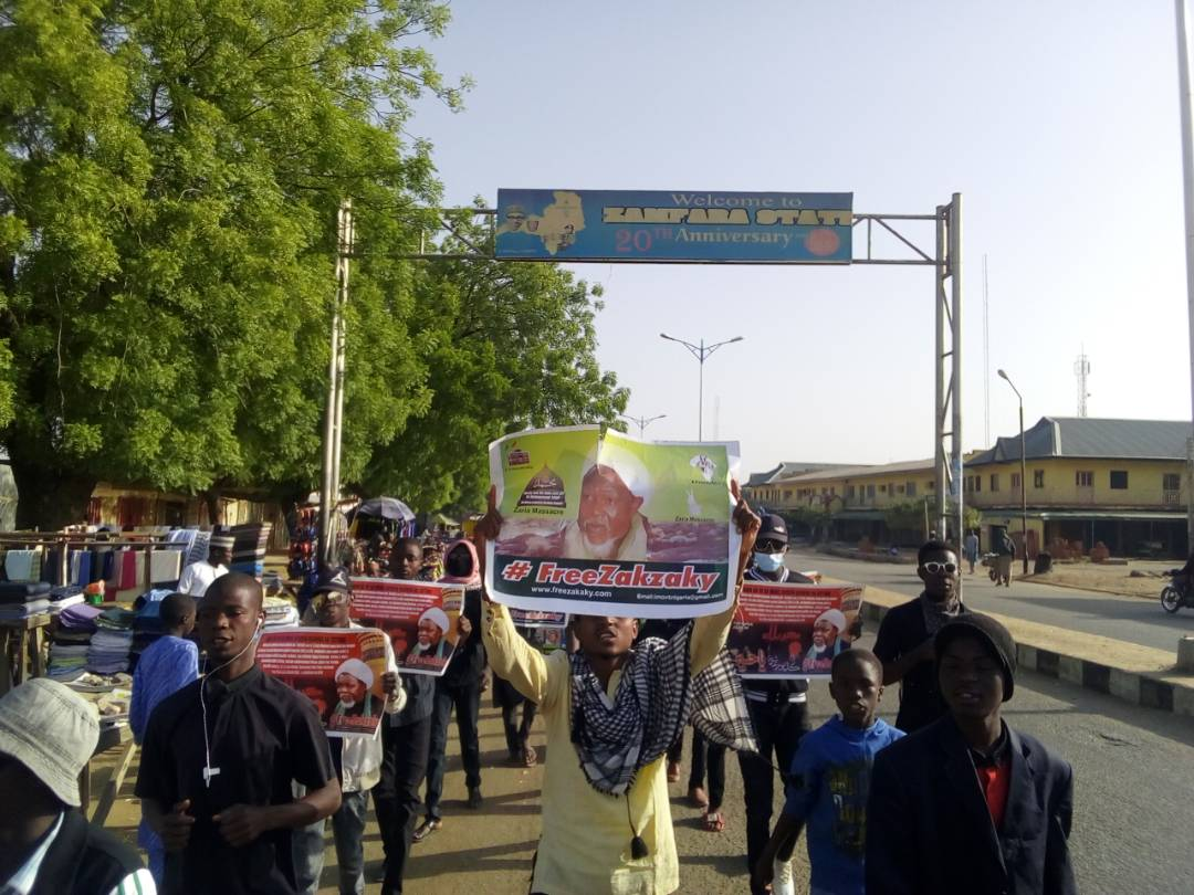 free zakzaky protest in gusau for medical care