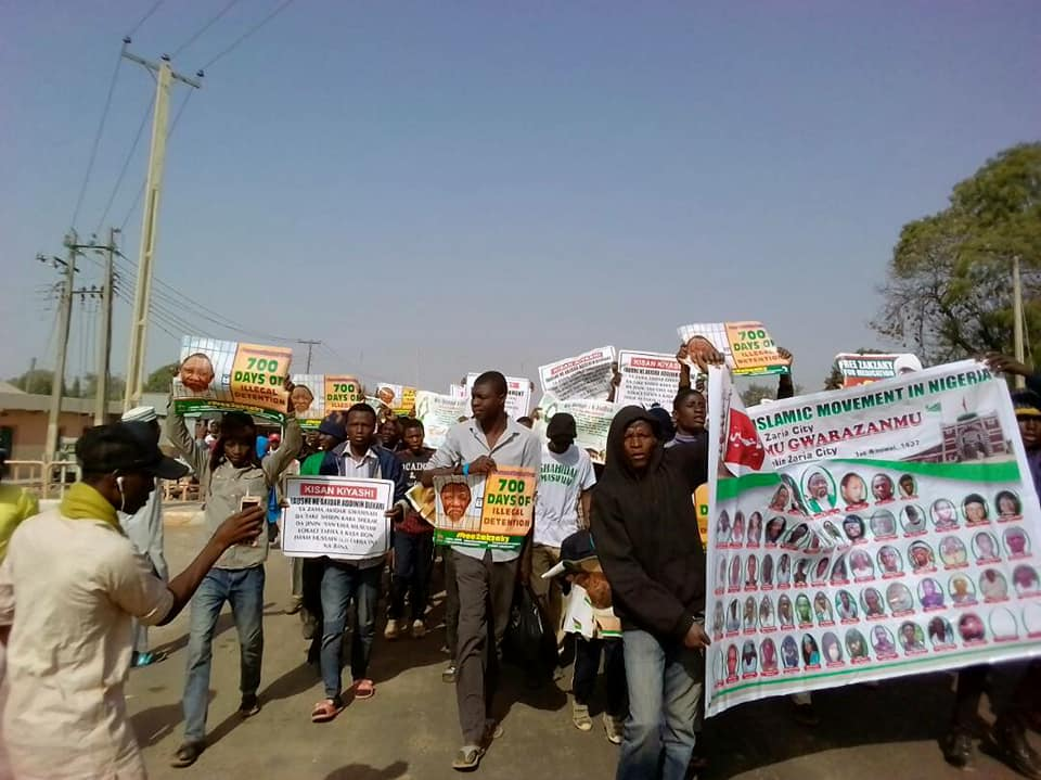 free zakzaky protest in zaria for medical care
