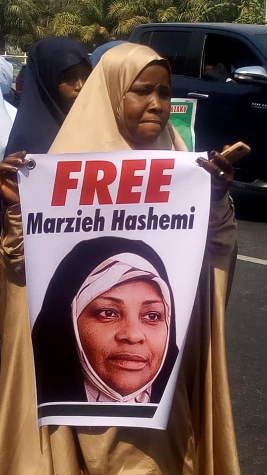 sisters protest arrest of marzieh in abuja